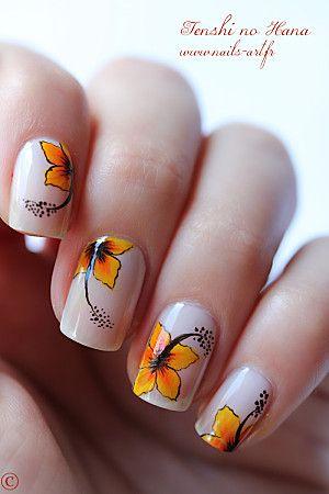 orange flower nails art