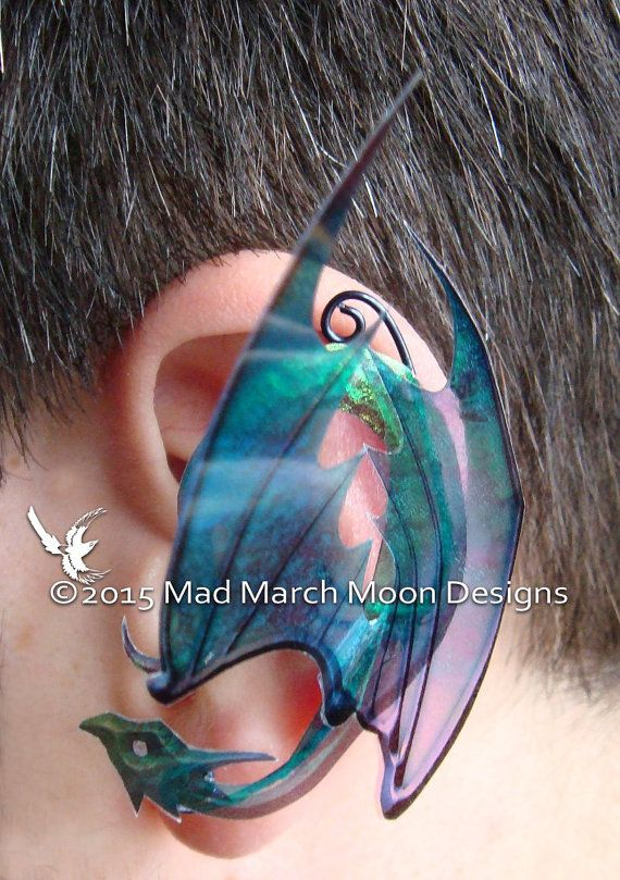 Rainbow Dragon Ear Cuffs iridescent rainbow by MadMarchMoon