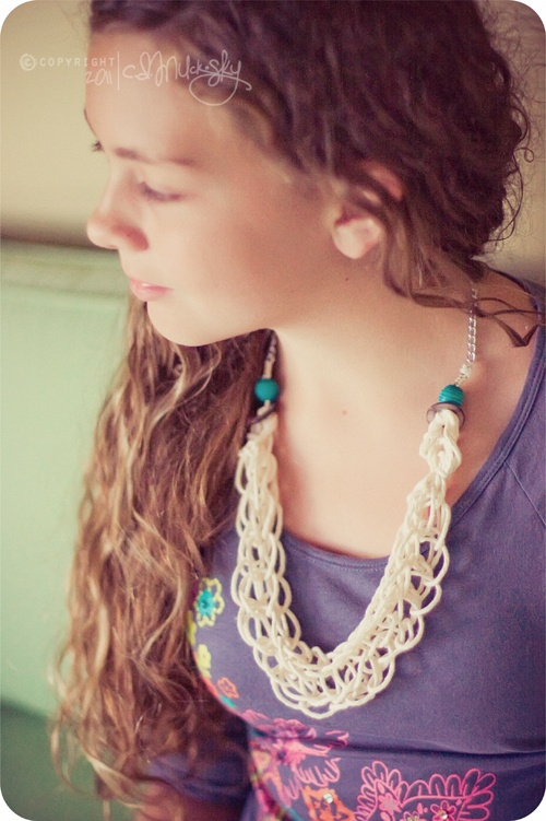Jellybean Toes, Cheerios, and a Scrapping Hullabaloo: Finger Knit necklaces