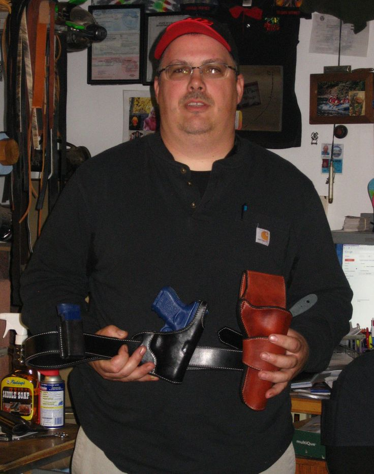 Gun Leather Class of May 2014- Gene Badish from Phoenix.  He did a conceal rig for a Glock and a half breed for a Ruger Blackhawk and did a great job!  We even did a little vinagaroon! www.slickbald.com #slickbald #holster #school #leather