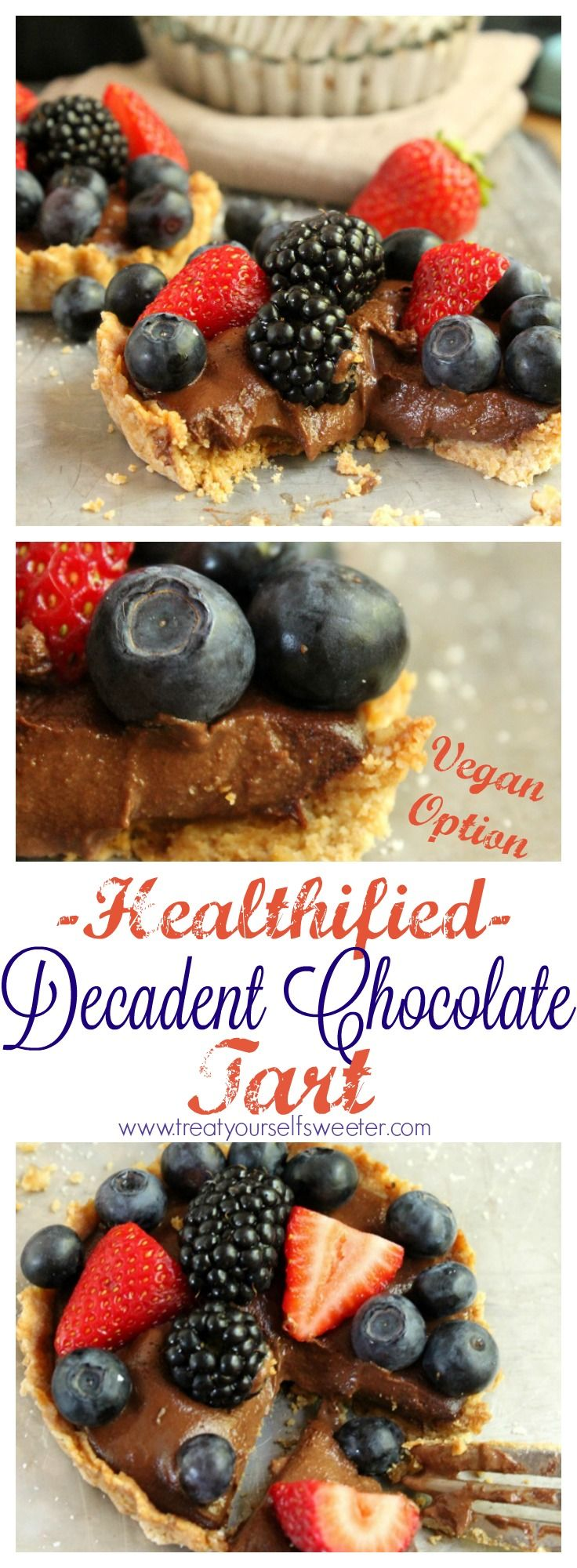 Decadent Healthified Chocolate Tart; Crunchy, nutty base, followed by a thin layer of peanut butter and finished with a smooth, chocolate filling. Topped with berries, this is one special dessert!