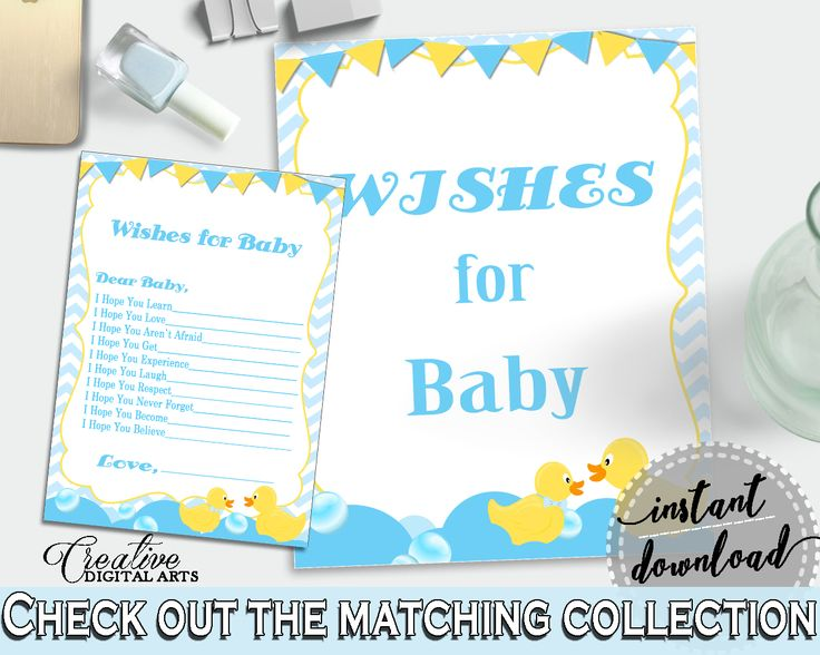Yellow Rubber Ducky Baby Shower Cute Learning Respecting WISHES FOR BABY, Pdf Jpg, Party Organizing, Party Décor - rd002 #babyshowerparty #babyshowerinvites