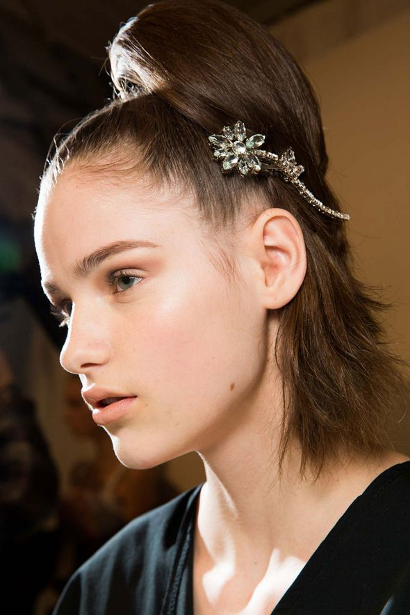 Prada Backstage Hair and Makeup - Fall 2015 Beauty Trends Milan Fashion Week brooch type clip