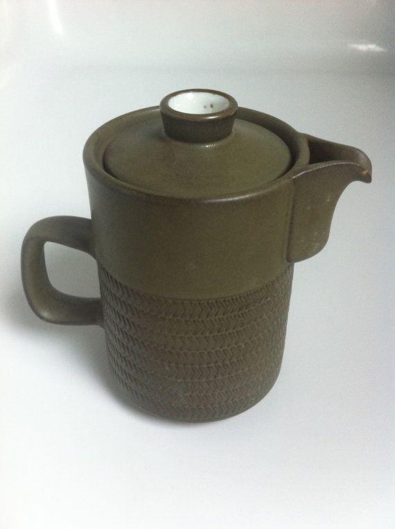 Denby Chevron/ Camelot dark green coffee pot by PopPopova on Etsy, £10.20