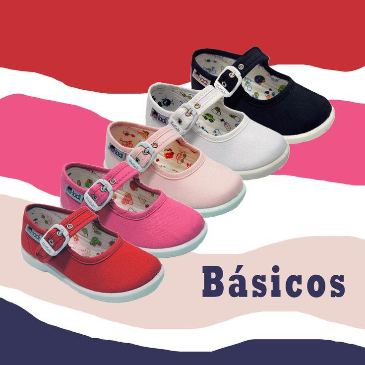 Zapatillas de lona para #niña en cinco colores: rojo, fucsia, rosa, blanco y azul marino. Con cierre de hebilla. Moda en #calzadoinfantil