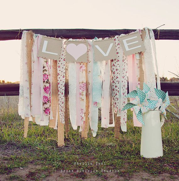 Wedding Banner - LOVE - Rag Tie Galand Banner - Shabby Chic Wedding Decor - Shabby Chic Nursery Decor - Baby Shower Banner on Etsy, $50.00