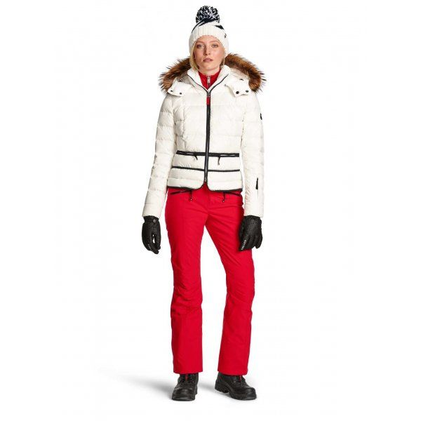 Bogner Imy Jacket in White | Bogner White Ski Jacket with Fur Trim