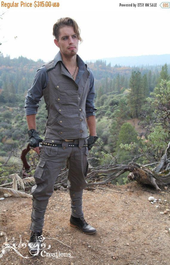 MENS Pirate Vest  Large Gray Mens Suit by KelseysCreationsShop