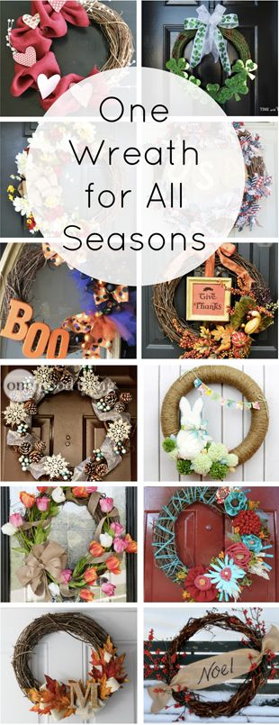 A decorative wreath on the front door is a fun way to celebrate the different seasons and holidays throughout the year, but it can get expensive and time-consuming to have a separate wreath for each occasion. (Not to mention the storage issue!) We've created an easy and inexpensive way for you keep it fun and fresh all year long!