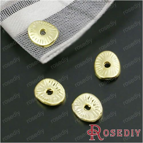 (28456-G)80PCS 6*5MM Zinc Alloy Gold Color Round or curved brushed disks Spacer Beads Diy Jewelry Findings Accessories Wholesale