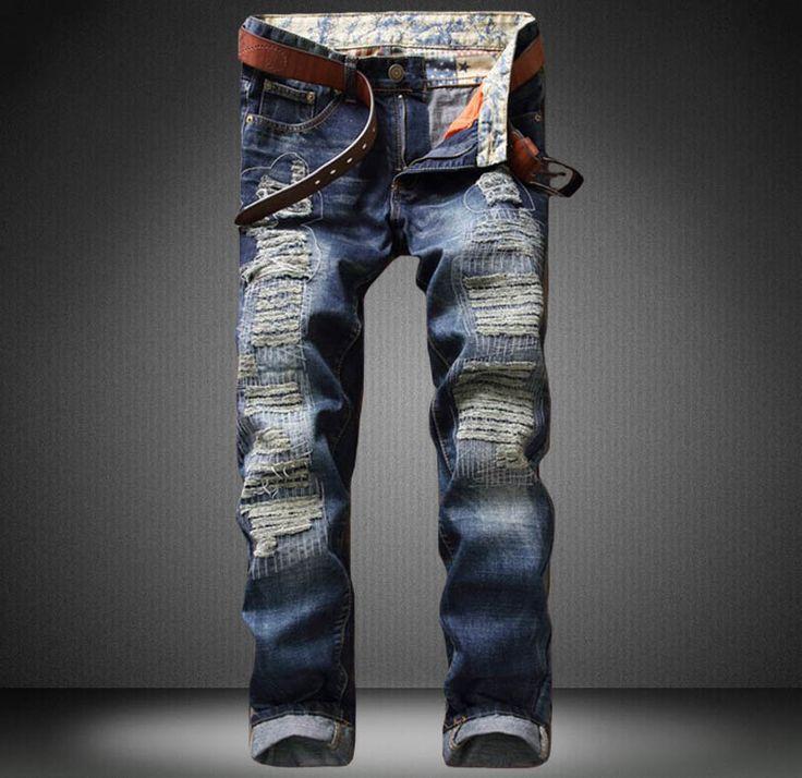 >> Click to Buy << NEW Blue Men Jeans High Quality Classic Rap Biker Motorcycle Jeans Zipped Ripped Denim Slim Fit Hip Hop  hip hop Jeans #Affiliate