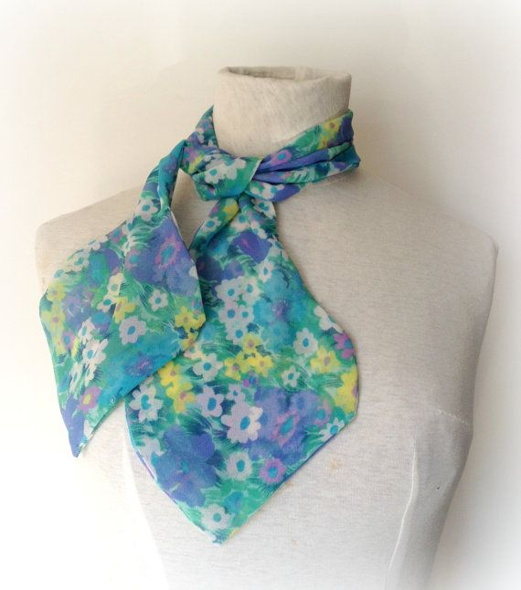 Women's Neck Scarf, Monet Style, Flower Garden Print, Purples, Greens,  Blues, for Women, Neck Tie, Scarflette, Spring Colors, Handmade  USA