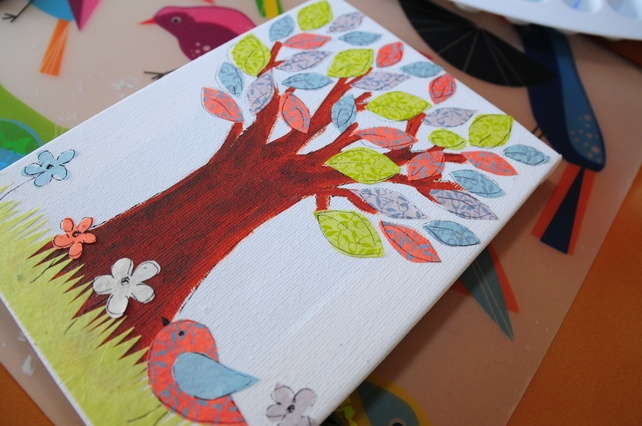"Original Little Bird Tree Collage 5 x 7""... - Folksy"