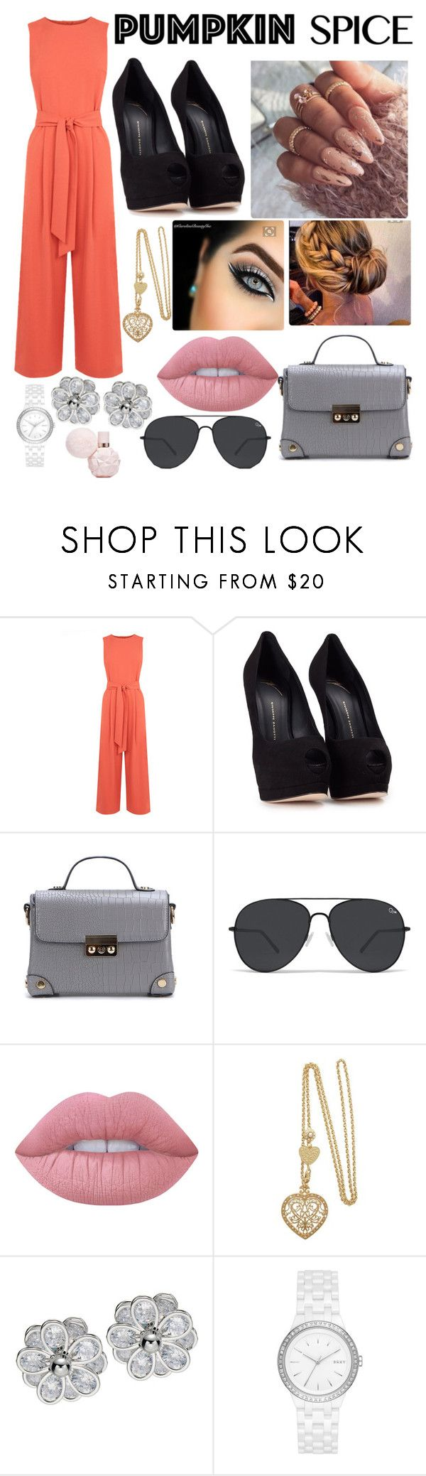 """Pumpkin 🎃 spice"" by maryamsaeed1 ❤ liked on Polyvore featuring Warehouse, Giuseppe Zanotti, Lime Crime and DKNY"