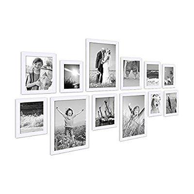 15er Set Bilderrahmen Modern Weiss Massivholz 10x15 bis 20x30 cm inklusive Zubehör zur Gestaltung einer Collage / Bildergalerie