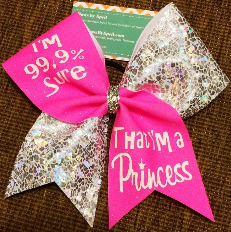 I'm 99.9% Sure That I'm a Princess Neon Pink Glitter and Crackle Cheer Bow - Bows by April