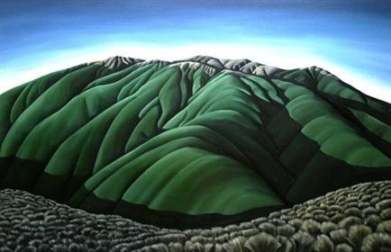 'Alpine Tussock' (2007) by New Zealand painter Diana Adams (b.1969). Acrylic on canvas, 1120 x 715 mm. via Sanderson Contemporary