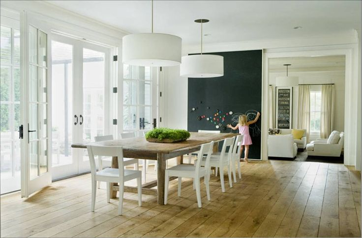 dining-room-wide-plank-natural-wood-floors-chalk-board-wall-farmhouse-farm-table-white-open-back-chairs-drum-shade-ceiling-light-pendants-fixtures-french-doors.jpg 1,213×800 pixels