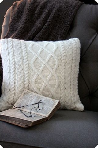 DIY cozy sweater pillow (cable knit sweater from a thrift store = cozy homemade pillow) LOVE it!