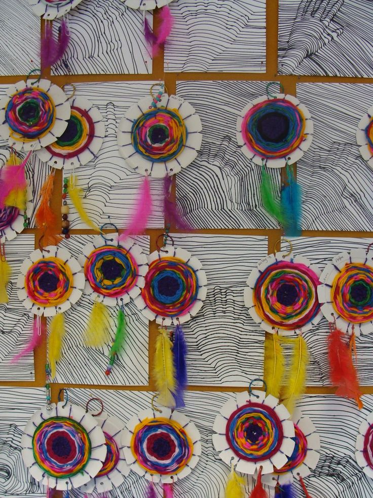 After looking at examples of American Indian dream catchers, we made our own using the centre of the plate and lots of different coloured ...