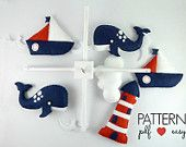 40% OFF Nautical Nursery, Nautical Mobile Pattern, Nautical Baby Mobile, Felt Sewing Pattern, Sea Navy Nursery, Sailboat Crib Mobile