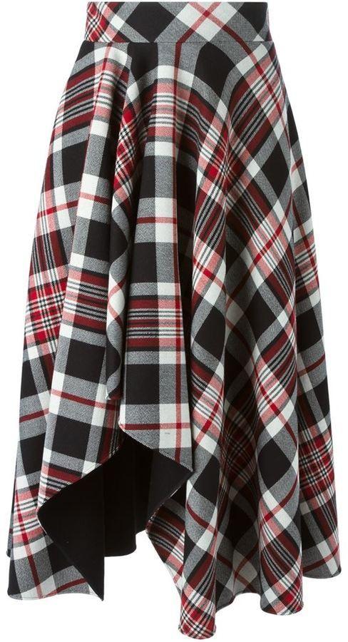 Alexander McQueen tartan asymmetric draped skirt