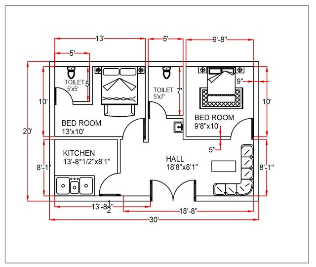 2 bhk house plan (30'x20' sq feet) in 2021 | House plans ...
