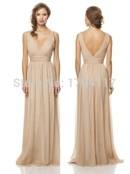 Simple And Perfect Tan Bridesmaid Dress Chiffon V neck Floor Length Wedding Party Long Bridesmaid Dress Champagne Color
