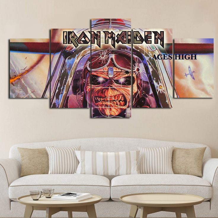5-piece Iron Maiden Aces High printed Canvas Wall Art
