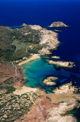 Aerial view of the north coast beach of Cala Pregonda, Menorca, Spain