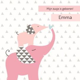 Mijn zusje is geboren!  #Hallmark #HallmarkNL #girl #geboorte #meisje #geboortekaartje #olifant #zusje
