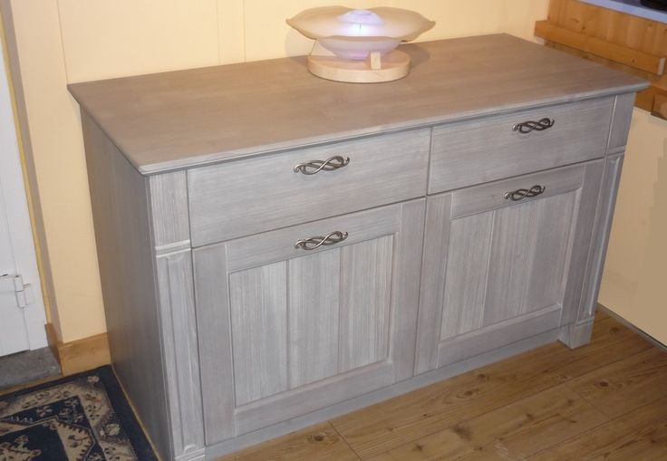 Base Credenza in abete massello, finitura Ardesia