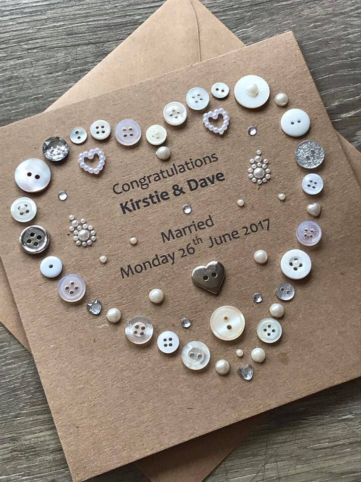 A personal favourite from my Etsy shop https://www.etsy.com/uk/listing/545064629/personalised-wedding-card-button-art