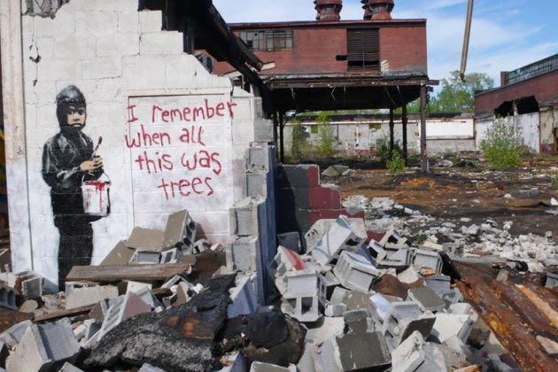 Banksy's Detroit showstopper, via google images. This one is worth reading about. Apparently, he turned a junkyard into a site worth thousands and now people are fighting over who owns a spot that was once abandoned by all...
