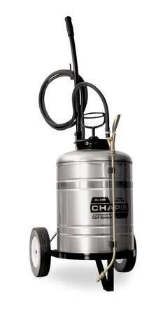CHAPIN 6300 Cart Sprayer,6 gal.,Stainless Steel by Chapin. $275.99. Cart Sprayer, Industrial, Tank Capacity 6 gal., Tank Material Stainless Steel, In Tank Filter No, Hose Length 120 In., Fill Opening Size 4 In., Pressure Release No, Wand Material Brass, Nozzle Type Adjustable Cone, Nozzle Material Brass, Hose Material Nylon Reinforced, Wand Length 18 In., Pump Length 14 In., Pressure Range 35 to 45 psi, Seal/Gasket Material Viton(R)