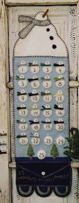 !Wool Felt/Penny Rug Patterns Patterns - HTH - Snowman Advent Calendar