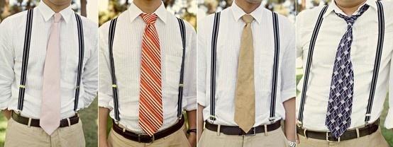 Groomsmen in Suspenders or vests with different ties in wedding colors?
