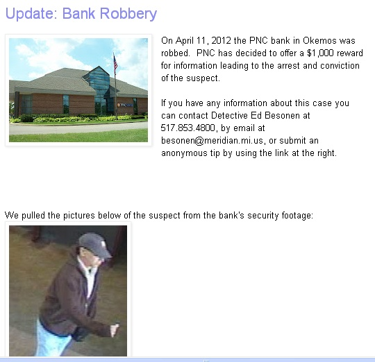 For more pics and info...  http://meridiantwppolice.blogspot.com/2012/04/update-bank-robbery.html