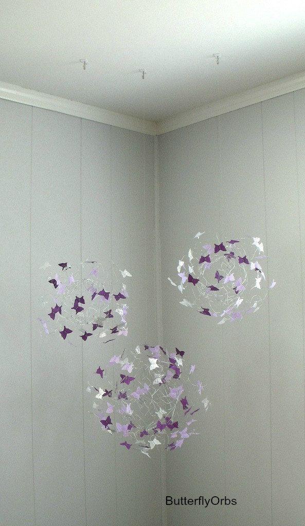 Mobile Purple Lavendar and Silver Butterfly Mobiles Sphere of Butterflies Nursery Decor