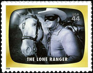 """This Lone Ranger stamp is from the """"Early TV Memories"""" issue of 2009. Since his radio debut in 1933, this masked hero has captivated loyal fans in books, movies, comics, and -most successfully of all- television.  Copyright U.S. Postal Service. #loneranger #postage"""