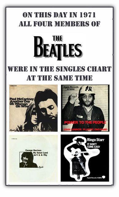A collection of solo projects by John Lennon,  Paul McCartney,  Ringo Starr and George Harrison that hit the pip rock chart at the same time in 1971, a year after the band broke up.