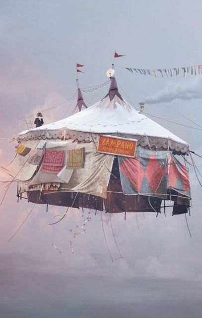 "flying circus tent. Sign says ""Zampano"" ... I wonder if it's inspired by La Strada?"