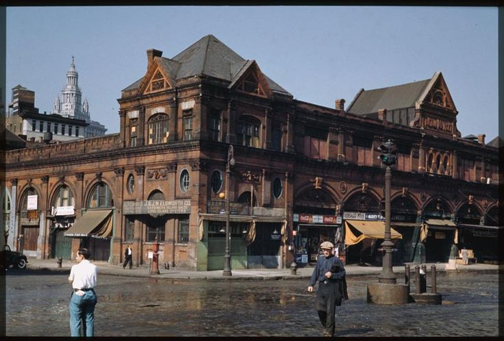Colorized-The old Fulton Market, Manhattan's Lower East Side, Saturday afternoon (1941)