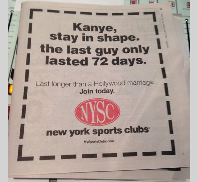 Gym Ad Kindly Reminds Kanye That He Married a Shallow Short-Timer | Adweek