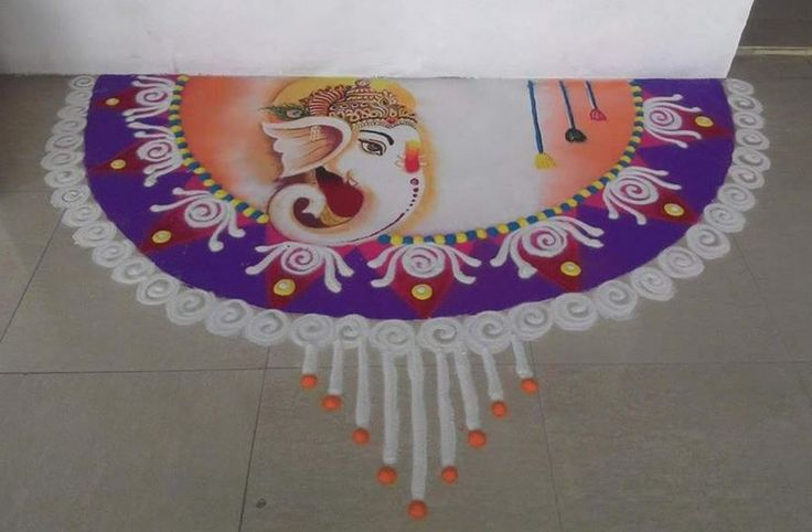 Ganpati Rangoli Designs for Diwali Competition