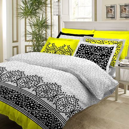Bombay Dyeing Anita Neon King Size Bed Sheet With Four Pillow Covers Black, White & Yellow,King Size Bed Sheets
