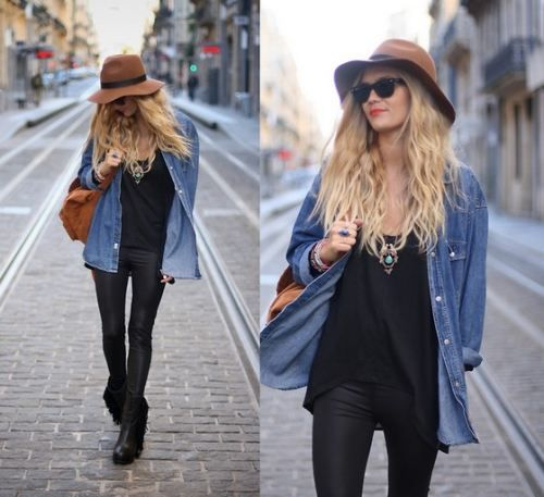 Leather leggins+denim