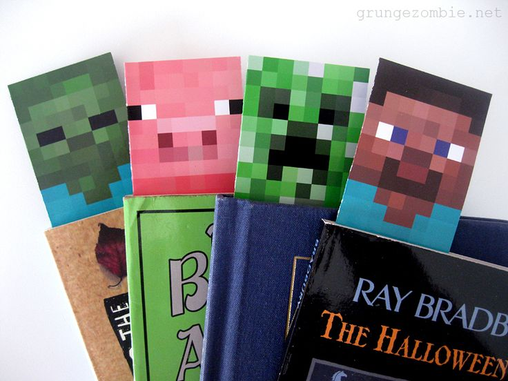 Free printable Minecraft bookmarks for goodie bags at Grunge Zombie