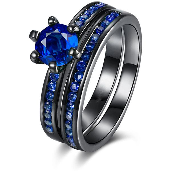 Golden NYC Blue & Black Double-Band Ring With Swarovski® Crystals (59 BRL) ❤ liked on Polyvore featuring jewelry, rings, swarovski crystal jewelry, swarovski crystal jewellery, golden jewelry, golden ring and swarovski crystal rings