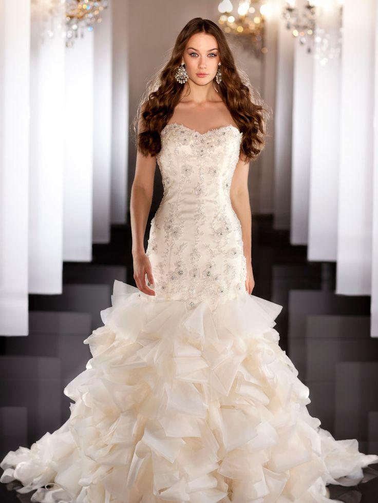 Tulle Organza Sweetheart Beading Ball Gown Wedding Dress